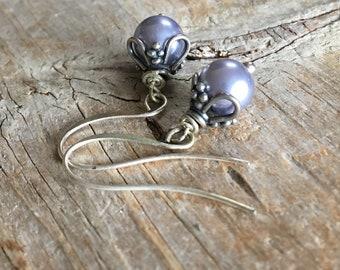 Gray Crystal Pearl Earrings, Sterling Silver Ear Wire, Sterling Silver Bead Caps, Drop Earrings