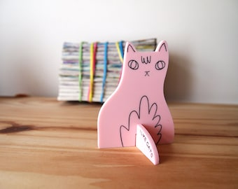 Pink cat desk ornament - Desk pet - Laser cut cat - Pink cat - Desk cat - Cat gifts - I like Cats - cat standee - ornament - laser cut