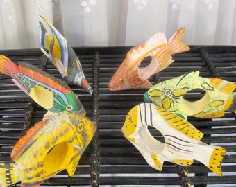 Vintage 90's wooden handpainted hand carved tropical fish napkin holders set of 6