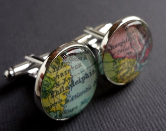 Quality Cufflinks, Husband Gift Idea, Meaningful Gift, Travel Gift, Silver Cufflinks, Colorful Cufflinks