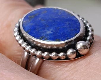 A+ Blue Lapis Lazuli Ring 12  X 16 mm Oval Blue Sterling Silver Ring