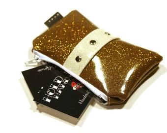 Gold Vinyl Coin Pouch - Gold Sparkle Bag - Sparkle Coin Purse - Pin Up Bag - Rockabilly Purse - MADE TO ORDER