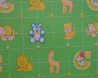 Vintage 1970s Gift Wrap for BABY-3 Sheets Wrapping Paper--Apple Green & Yellow Tulips