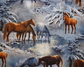 Wintry Snowy Horse Fabric by the Yard
