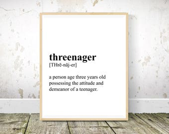 Threenager Definition, Nursery Wall Art, Nursery Decor, Baby Room Decor, Nursery Prints, Nursery Wall Decor, Definition Print