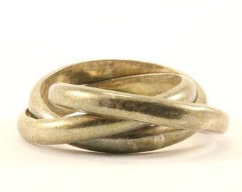 Vintage Mexico Trio Rolling Ring 925 Sterling RG 1608
