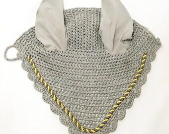 Light Gray Ear Bonnet, Horse Fly Bonnet, Ear Net, Horse Ear Net, Ear Bonnet, Fly Veil, Gray Tack, Gray Ear Net, Grey Ear Net