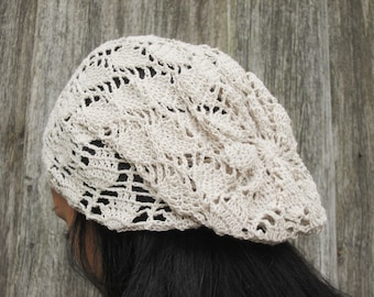 Crocheted Summer Hat,gray hat, Hand Crocheted Hat Womens Hat - slouchy hat , sun hat, woman hat