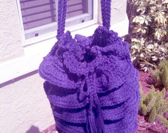Round Ruffly Bag in Purple
