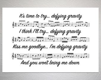 Wicked - Defying Gravity - Song Sheet Poster - Unique Art