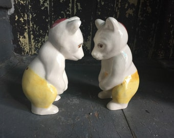 Ceramic Bears with Kippahs Mid Century