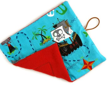Blue pirate treasure map roll up cloth marble maze game, Waldorf toy Level 1 or 2, busy book travel quiet activity, sensory toy, autism tad