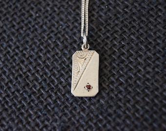 Vintage Sterling Silver Ingot with chain - Vintage Garnet Jewelry - Vintage Necklace - Vintage Silver Pendant - Vintage Silver Necklace