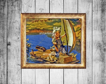 Boy's Room Art Print, Family Room Art, A Boy and Dog Art Print,  The Pirate's Life for Us  #414