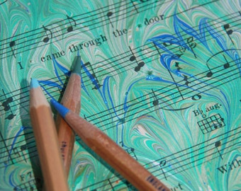 Green Thistle - Hand marbled vintage sheet music