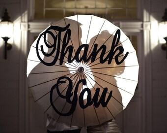 Large Brockscript Thank you handpainted parasol