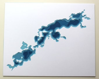 Prior Lakes - original 8 x 10 papercut art