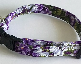 Purple Floral Cat Collar with Breakaway Buckle and Bell