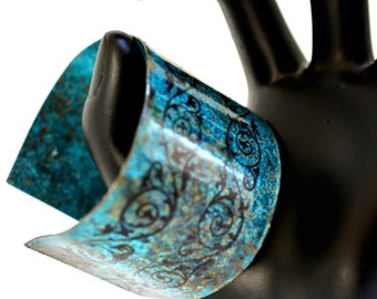 Patina Cuff Bracelet, Wide cuff, copper cuff, bohemian bracelet, floral cuff, turquoise bracelet, statement bracelet, rustic bracelet, boho