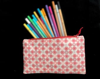 Make-up / pen / pen pencil case * red circles * for utensils