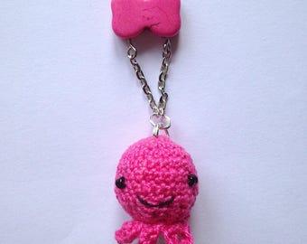 Terri necklace Fuchsia crochet amigurumi