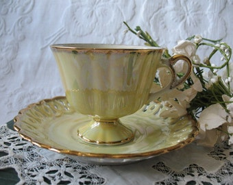 Vintage Teacup & Saucer  Yellow Footed  MOP Lusterware Made in Japan Mid Century TeaTime Gift Victoria Downton Abbey Tea Cottage Shabby Chic