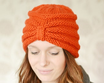 Turban Beanie Hat, Warm Chunky Hat, Knitted, Rust, Knit hat, UK, Xmas Gift Present