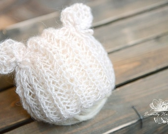 Teddy Bear Hat, Newborn Photo Prop, Knitted Hat for Babies