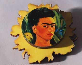 frida kahlo statement handmade brooch woodcut with vintage parts , wooden,lasercut