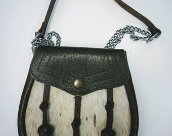Vintage One of a Kind  Boho Hippie Leather animal skin made in Scotland Bag Purse