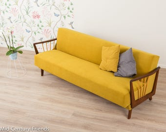 50s sofa, couch, 50s, vintage, mustard (704001)