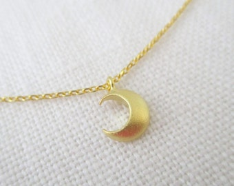 Tiny Gold Crescent moon necklace.... dainty and delicate, birthday, wedding, bridesmaid gift