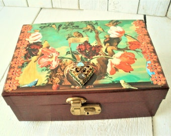 Vintage jewelry box womens burgundy tiered birds flowers embellished jewelry finding/ free shipping US