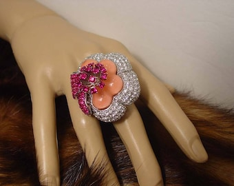Huge Couture Crystal Flower Statement Ring