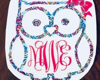Owl Floral Monogram Decal Sticker