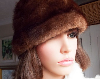 Vintage 60s fur hat Chestnut brown mink fur hat Real mink fur hat Chestnut mink fur hat  Real mink hat  High quality mink fur Quilted lining