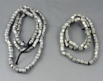 Two strands-Ethiopian aluminium beads, tribal beads, tribal jewelry, ethiopian necklace, Turkana jewelry, african beads