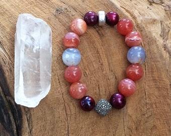 Pave Diamond Bracelet | Freshwater Pearl | Amethyst | Botswana Agate | Bohemian | Gemstone