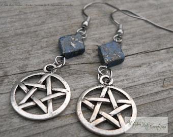 Pentacle earrings, stainless Steel hooks - Tibetan Silver - Lapis Lazuli gemstone - Spirituality - Gardiens Spirits - Wicca, pagan gift