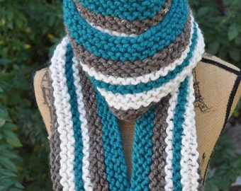 Chunky Striped Super Scarf - Long Knit Mens Scarf - Ladies Winter Scarf - Warm Womens Scarf - Teal Blue - Cocoa Brown - Ivory White
