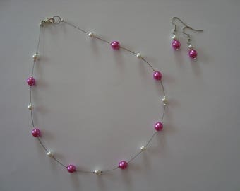 Hot pink & white fancy beaded jewelry set