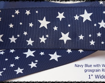 "Navy Blue with White Stars Printed Grosgrain Ribbon 1"" Wide NS010518"