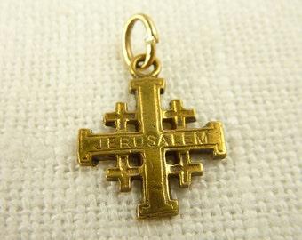 Antique 14K Gold Jerusalem Cross Charm