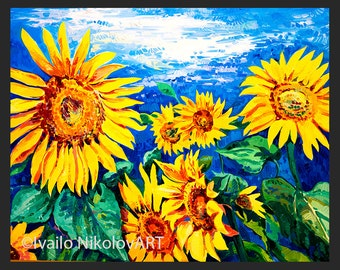 Oil Painting, Landscape Painting, Canvas Art, Framed Art, Sunflower Field Painting, Abstract Art, Wall Art, Large Art, Canvas Painting