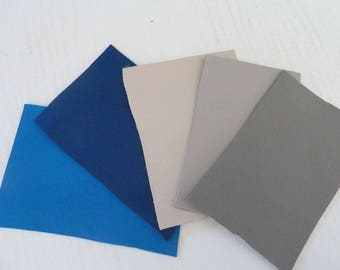 set leather coupons x 5 rectangle leather assorted colors