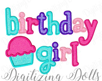 Birthday Girl Applique Machine Embroidery Design 5x7 6x10 Cupcake INSTANT DONWLOAD