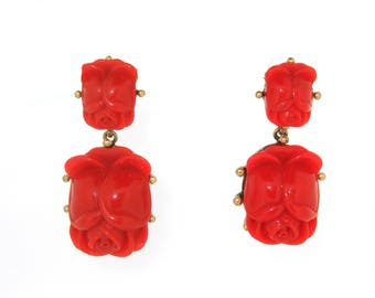 Oscar de La Renta Earrings pierced Big Red and Gold Rose