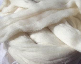 White organic Polwarth Top Roving 8oz