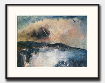Abstract landscape - abstract seascape - modern art  - abstract print art wall - Ocean Print from an Oil painting by Juan Bosco