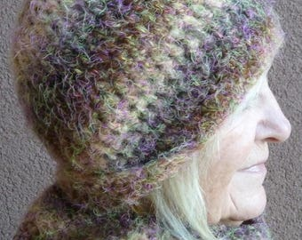 Women's winter hat and cowl made for warmth and style, soft and comfortable crochet winter accessories, colors in purple, pink, green, coral